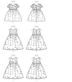 Child's dress Vogue 9072 Line Art ~ has princess seamed bodice.  I will lengthen bodice, so less of an empire waist.  Can be with or without cap sleeves.  Will still make sweater to match.
