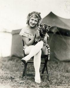 Vintage circus performer #tiger #cub