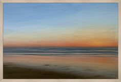 sunset with wood frame - 63w x 43h