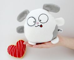 """Thanks for the kind words! ★★★★★ """"Love it! Very well made. One of the cutest fluffies I ever got. :D"""" Florian B. http://etsy.me/2AFbpQ5 #etsy #toys #white #birthday #gray #christmas #dogwhitestufftoy #guyuminos #doggiecuteplushies #animalcustomgift #softfabricheart"""