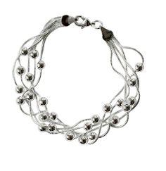 Bijoux AK - Bracelet multibrins avec perles, en argent