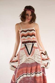 Ethnic Bohemian Hand Crocheted Maxi Skirt HiLow Hem