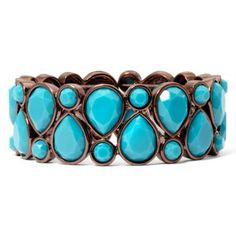Liz Claiborne® Bronze-Tone Blue Stretch Bracelet   found at @JCPenney