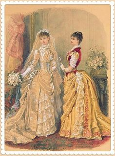 Victorian elegant bride's beautiful wedding illustrations