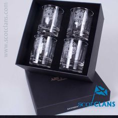 boxed set of whisky glasses with Kennedy Clan crest atom ScotClans