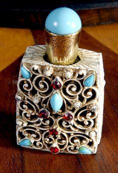 Copious: vintage Florenza jeweled perfume bottle filigree