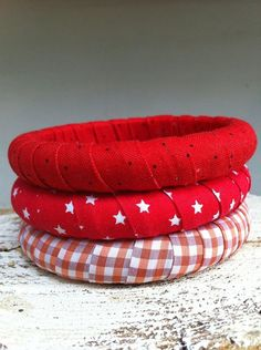 Fabric bangles by PrettyBoxshop on Etsy,