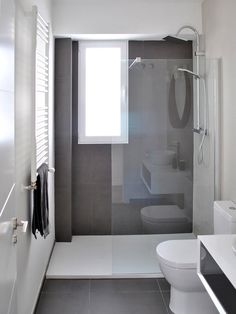 Bathroom renovation - Home Decor Narrow Bathroom, Grey Bathrooms, Bathroom Design Small, Bathroom Renos, Bathroom Layout, Bathroom Interior Design, Modern Bathroom, Bathroom Ideas, Bathroom Green