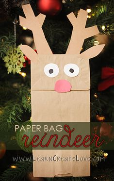 Paper Bag Reindeer Craft | LearnCreateLove.com