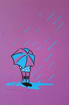 Purple Rain, Statement Art Print, Child,  Umbrella, Original Graphic Screenprint, Blue, White & Black on Purple, Weather, Muddy Cuddles by littlebluegirlco on Etsy