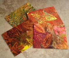 Note Cards Set of 4 Beautiful Batik Fabric by RubyMountainDyeWorks, $9.95
