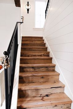 Love these barn wood style stairs! The stained look is very rustic looking and would go great in a cottage or farmhouse.