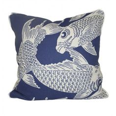 SallyL: Pillows - calypso navy - Oomphonline - navy, koi, print, blue, graphic, modern, contemporary,
