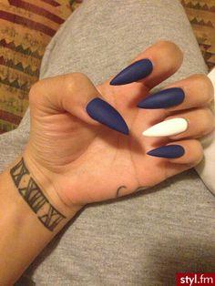 Matte pointed stilletto nails