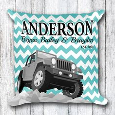 Custom Jeep Family Pillow  Personalized Last Name by Anarchy307