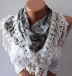White Lace and Elegance Shawl / Scarf with Lace by SwedishShop, $17.90