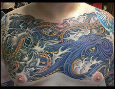 Octopus Tattoo, Chest piece, Chest Tattoo, Japanese Tattoo