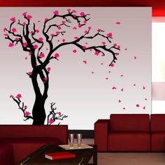 Cherry blossom tree wall painting