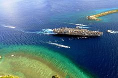 Free, Public Domain Image: Aircraft Carrier USS Ronald Reagan Enter the Harbor at Guam