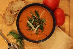 Home Sweet Jones - Creamy, Light Basil Tomato Soup - Home Sweet Jones Coconut Soup, Cozy Winter, Tomato Soup, Summer Evening, Soup Recipes, Soups And Stews, Basil, Entrees