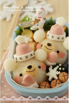 Kawaii Winter Bears Onigiri Rice Ball Bento Lunch © naohaha
