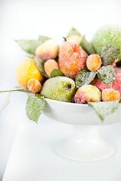 Sugared fruit makes a beautiful centerpiece