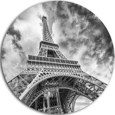 DesignArt Black and White View of Paris Eiffel Tower Photographic Print on Metal Size: