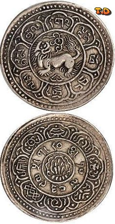 N♡T. Denomination: 1 Srang Metal: Silver State: Tibet              Issue year(s): 1909  Catalog reference: KM-Y12 (8) KM-Y12.PC (1)