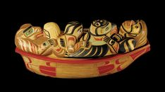 T'lisalagi'lakw and Friends Lidded Canoe Bowl - Carvings & Sculptures - Artworks
