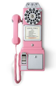 Crosley Radio 'Pay Phone' Wall Phone Crushing on this nostalgic pink wall phone that makes for a striking, retro addition to any room, while a functional coin slot adds to the authentic appeal. Pink Home Decor, Retro Home Decor, Retro Room, Retro Art, Vintage Phones, Pink Walls, Everything Pink, Vintage Design, My Room