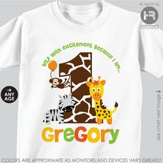 Jungle Birthday Shirt or Bodysuit -- Gender Neutral -- Personalized Zoo Birthday Shirt with child's age and name