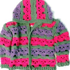 This crochet skully hoodie will make a gorgeous little lady look even more adorable. Team it with a pink skirt to complement it perfectly...