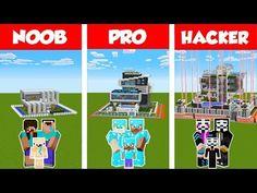 Minecraft NOOB vs PRO vs HACKER: SAFEST MODERN FAMILY HOUSE 2 - BUILD CHALLENGE / Animation - YouTube Minecraft House Tutorials, Minecraft Designs, Minecraft Houses, Modern Family House, Texture Packs, House 2, Challenges, Animation, Minecraft Mansion
