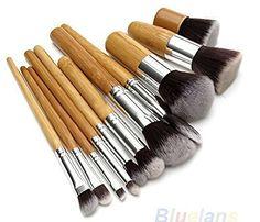 Tmalltide 11PCS Bamboo Pro Makeup Cosmetic Blush Brush Foundation Powder Brushes Kit Set >>> Click on the image for additional details.