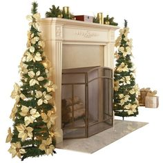 White Pull Up Poinsettia Christmas Tree ($21) ❤ liked on Polyvore featuring home, home decor, holiday decorations, white home decor and white home accessories