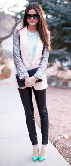 sequins, leather and mint