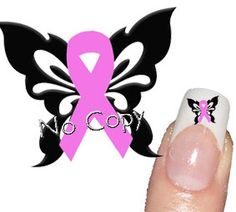 50 Butterfly and Pink Cancer Breast Tattoo Nail Art Decals sticker 2 sizes. $3.00, via Etsy. So totally NAILED it!  | tattoos picture breast tattoo