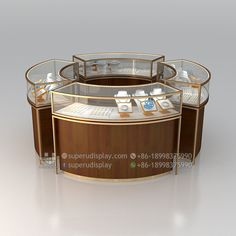 Custom Bulletproof Round Shopping Mall Jewelry Display Kiosk Counter for Retail Shop, Store Display Design Manufacturer Suppliers
