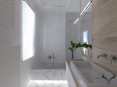 Minimalistyczna łazienka. Biel, drewno, marmur. Alcove, Bathtub, Bathroom, Design, Standing Bath, Washroom, Bathtubs, Bath Tube, Full Bath