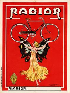 POSTER CYCLES FIAT BICYCLE WITH WINGS CYCLING SPORT ITALY VINTAGE REPRO FREE S//H