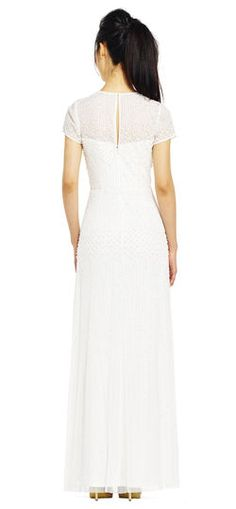 Adrianna Papell | Pearl Beaded Dress with Illusion Neckline and Sleeves