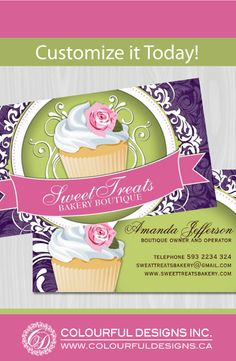 Cute cupcake business cards that are fully customizable. Designed by Colourful Designs Inc. Copyright 2013