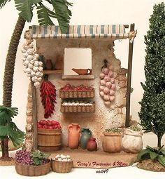 "FONTANINI ITALY 5"" 3PC PRODUCE SHOP NATIVITY VILLAGE ACCESSORY 54321 NIB Fontanini Nativity, Putz Houses, Ceramic Houses, Vintage Italy, Paper Models, Decoration, Ladder Decor, Holiday Decor, Christmas"