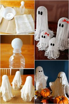 Collections Etc: Halloween - idee-deco-halloween-facile-fantomes-gaze-napperon-dentelle-crochet Best Picture For diy face mask - Deco Haloween, Soirée Halloween, Adornos Halloween, Manualidades Halloween, Halloween Crafts For Kids, Halloween Birthday, Holidays Halloween, Holiday Crafts, Kids Crafts