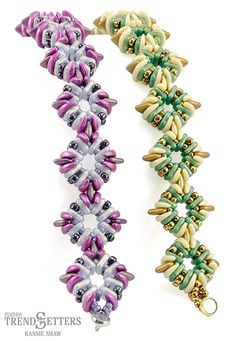 Materials for Cornerstone Bracelet Pattern: 72 CzechMates Crescents 18 CzehcMates Triangles 72 CzechMates QuadraTiles, color 1 72 CzechMates QuadraTiles, color 2 8/o Seed Beads 11/o Seed Beads Thread of choice Clasp