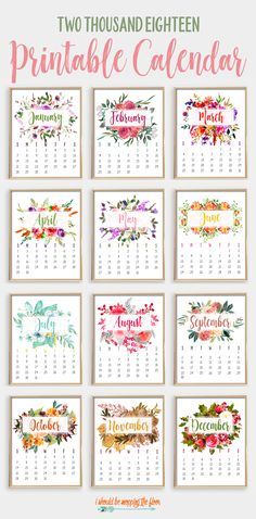 home accents diy This gorgeous, watercolor 2018 Printable Calendar is perfect for your home or office. Also includes a free, coordinating calendar-at-a-glance printable, too! 2018 Printable Calendar, Printable Planner, Planner Stickers, Free Printables, Blank Calendar, Calendar 2018 Design, 12 Month Calendar, Free Calendar, Print Calendar