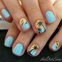 58 hottest beach nail ideas designs for summer summer gel nails, short gel Summer Gel Nails, Short Gel Nails, Cute Summer Nails, Acrylic Summer Nails Beach, Beach Nail Art, Nail Art Ideas For Summer, Summer Toenails, Basic Nails, Beach Nail Designs