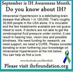 I am on of less than 200000 who have and I've had it for 10 years. Chronic Migraines, Chronic Illness, Chronic Pain, Headache Relief, Intracranial Pressure, Intracranial Hypertension, Lumbar Puncture, Pseudotumor Cerebri