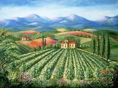 """""""Tuscan Vineyard And Abbey"""" by Marilyn Dunlap."""