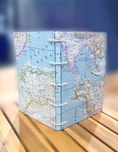 Encuadernación diario de viaje mapa mundi